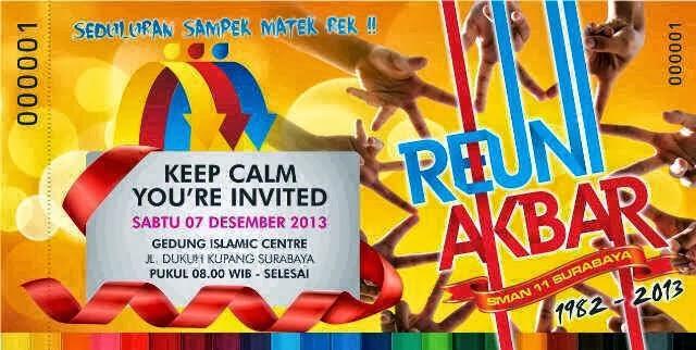 Tiket Undangan Reuni Akbar Sman 11 Surabaya Sman 11 Surabaya