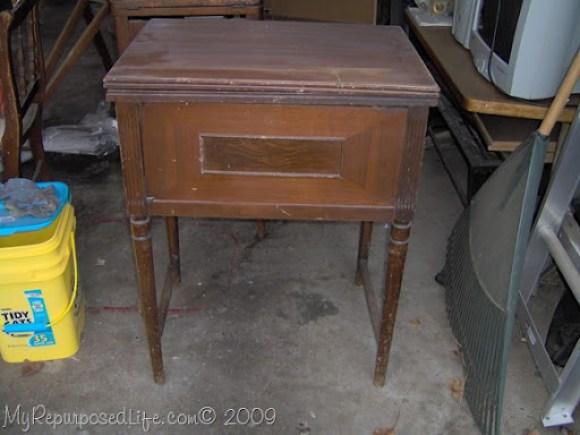 thrift store sewing machine cabinet