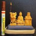 檀香木小佛像神像-超迷你五公分精緻細膩雕刻~笑呵呵的土地公爺爺-福德正神
