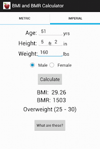 BMI and BMR calculator screenshot 2