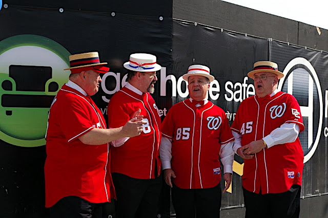 Barbershop Quartet performing outside Nationals Park