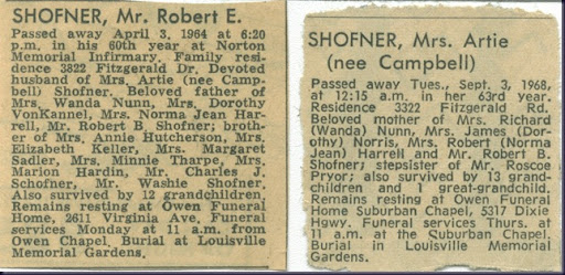Robert and Artie Shofner Obits