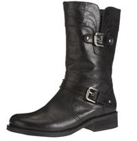 Warehouse Black Leather Biker Boots