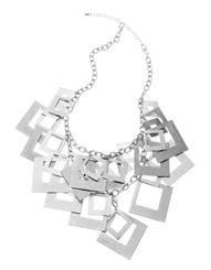 Silver Geometric Square Necklace by Jaeger