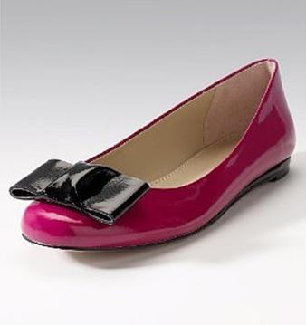 Fuchsia and Black Leather Bow Pumps by Marks and Spencer