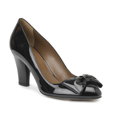 Black Patent Bow Shoes by Hobbs