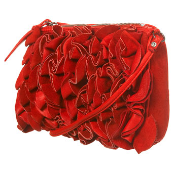 Red Suede Flower Frills Bag by Topshop