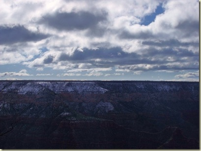 Snow above Roaring Springs & Bright Angel Canyons from Bright Angel Point trail North Rim Grand Canyon National Park Arizona