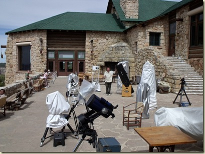 Telescopes on Lodge veranda for Star Party North Rim Grand Canyon National Park Arizona
