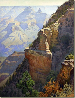 On the Trail to Granduer Point by G Widforss North Rim Grand Canyon National Park Arizona 1930s
