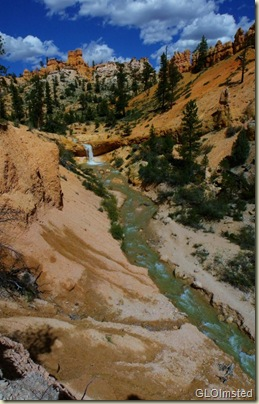 The Ditch waterfall along Mossy Cave trail near Bryce Canyon National Park Utah