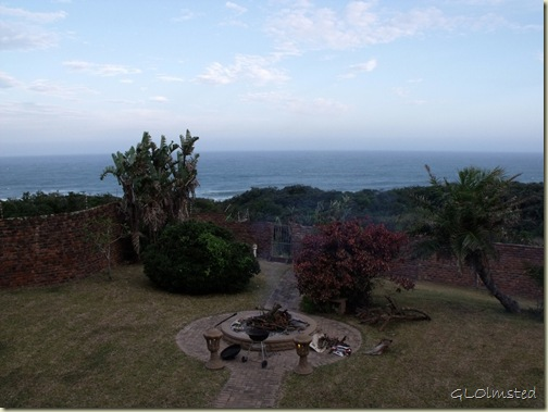 Indian Ocean & firepit in backyard of Bob & Lesely CSers Gonubie Eastern Cape South Africa