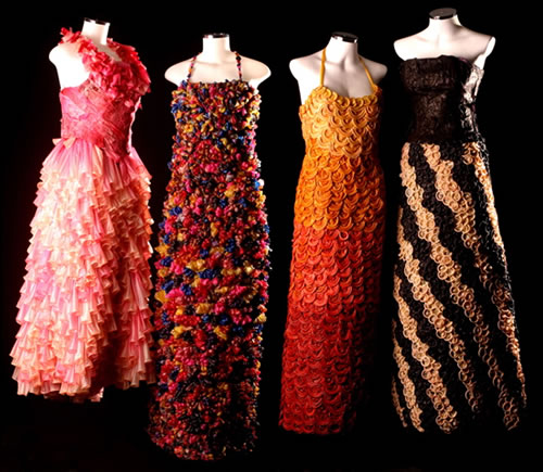 Dresses made from recycled condoms!