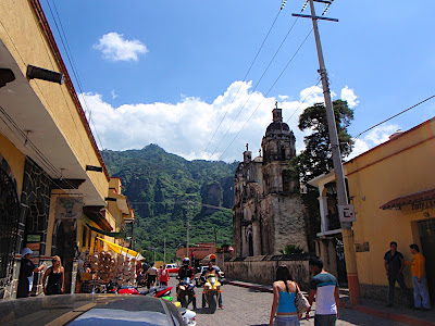 there isnt a whole lot to do in Tepoztlán, but the main attraction is the pyramid at the top of the mountain overlooking the city. See the mountain in the background? Basically you just follow the main road out of town. However, its a pretty rugged hike to get up there...think stairmaster except much prettier than watching the news or reading some crappy magazine at a gym