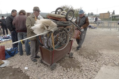 Inventive! A cart for old wheels!
