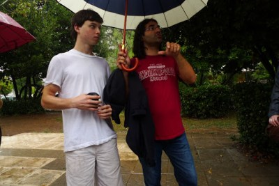 Our New Jersey friend refused to bring an umbrella or buy one. Our guide had to shelter him.