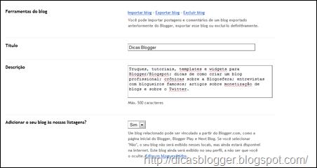 configurações básicas do Blogger