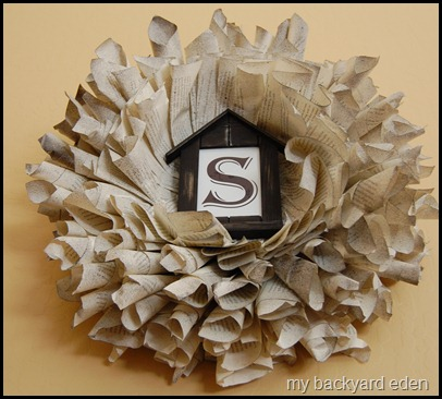 Finished book page wreath