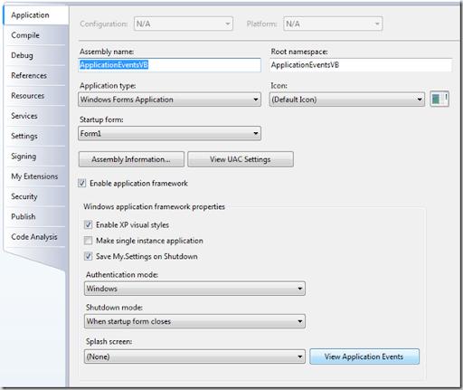 Application Events.vb dosyasının oluşturulması.