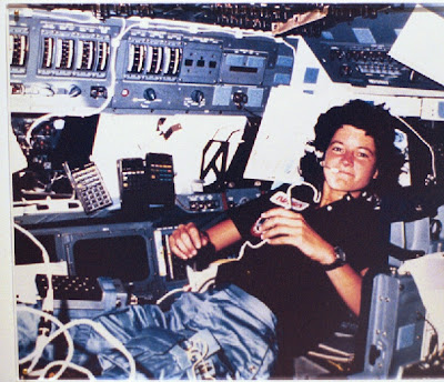 Sally Ride with several HP-41 aboard the Space Shuttle
