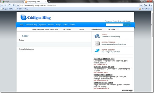 pagina estatica blogger