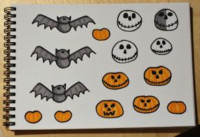 Itsetehtyjä Halloween -aiheisia korttikoristeita