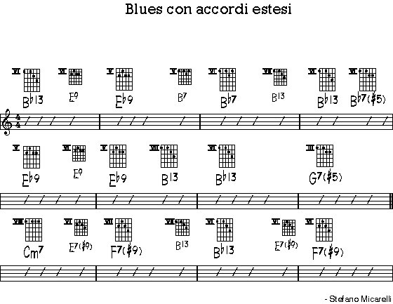 Blues con accordi estesi stefano micarelli web home - A finestra accordi ...