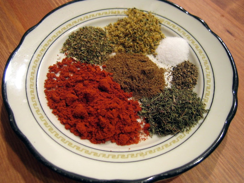 I created my own cajun spice blend using smoked paprika, thyme, oregano, cumin, grill seasoning, salt and pepper.