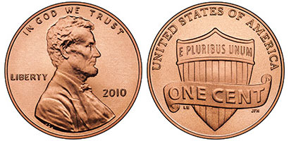 2010 Lincoln One Cent Redesigned Penny