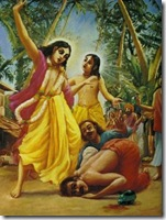 Nityananda Prabhu saving Jagai and Madhai from Lord Chaitanya