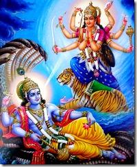 Goddess Durga praying to Narayana