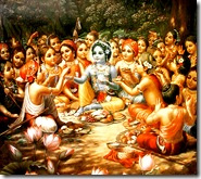 Krishna eating lunch with friends