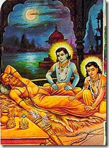 Rama and Lakshmana attending to Vishvamitra