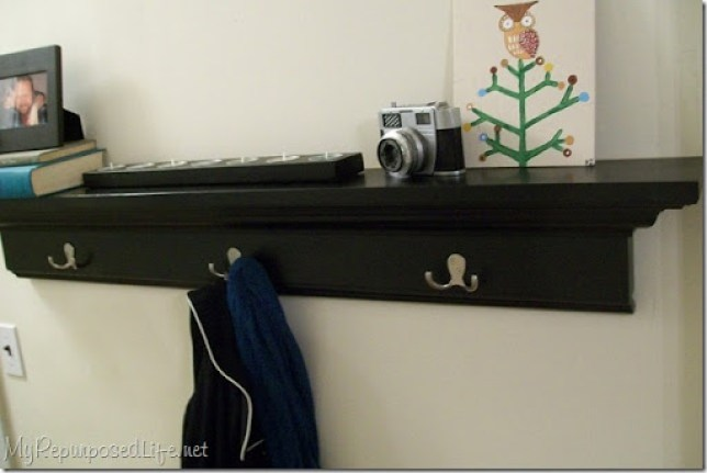 black coat rack wall shelf