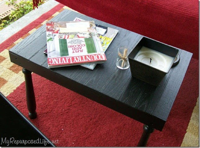 side table made from scraps and spindles
