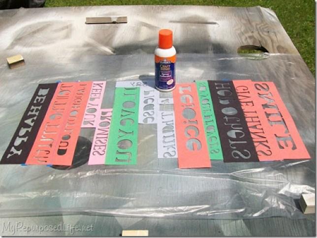 spray adhesive paper stencils
