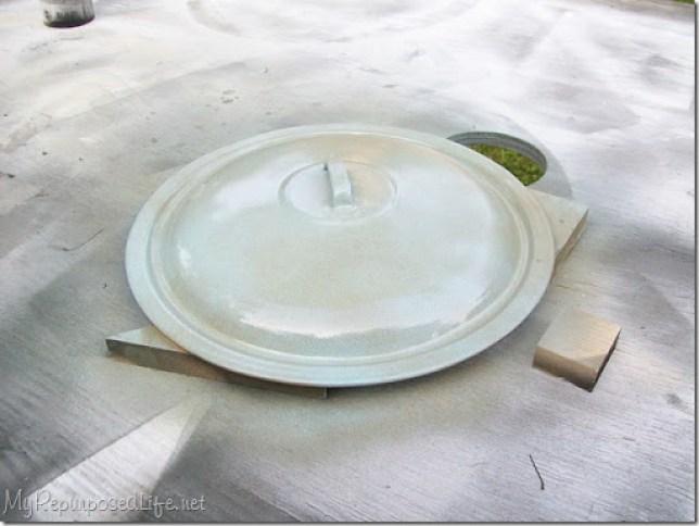 diy birdbath using reclaimed items