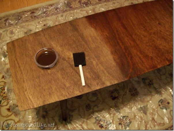 apply custom stain color with foam brush
