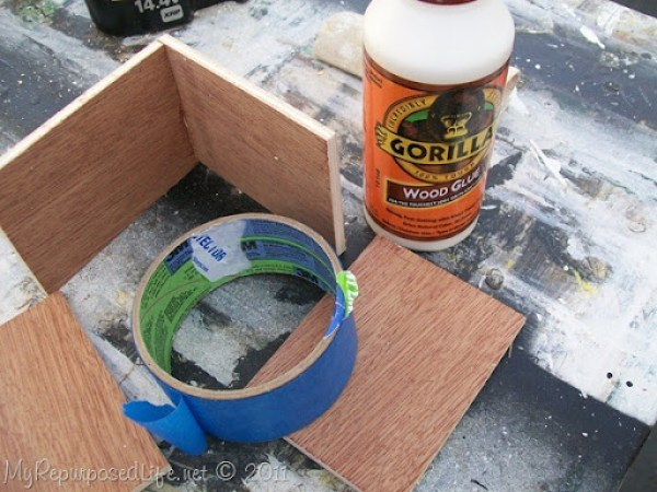 gorilla wood glue and painters tape instead of a corner clamp