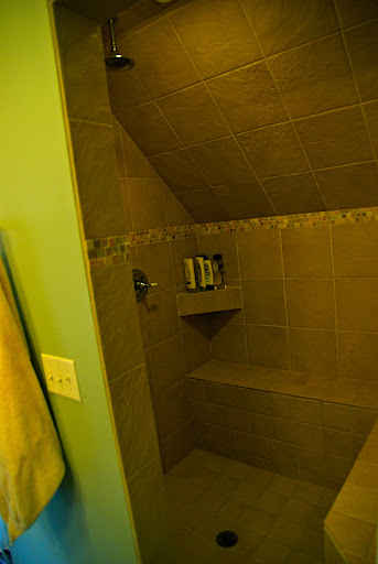 The HUGE tiled shower - it has a double shower head!
