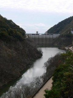 右岸ダム湖側より堤体を望む