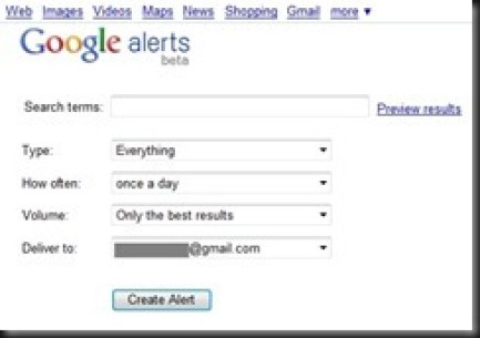 google alerts - UI
