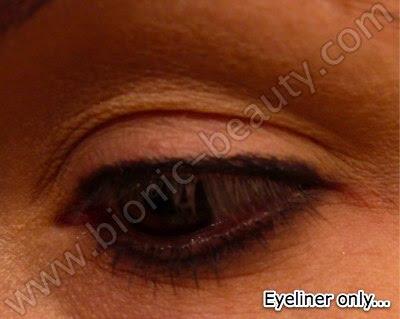 Line lashline with black eyeliner