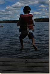 ED jumping off dock