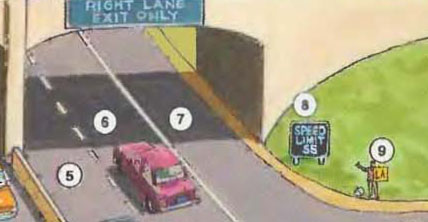 5. left lane 6. center lane 7. right lane 8. speed limit sign 9. hitchhiker