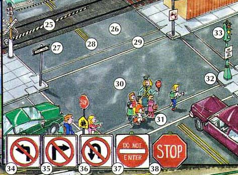 25. railroad crossing 26. street 27. one-way street 28. double yellow line 29. crosswalk 30. intersection 31. school crossing 32. corner 33. traffic light/ traffic signal 34. no left turn sign 35. no right turn sign 36. no U-turn sign 37. do not enter sign 38. stop sign