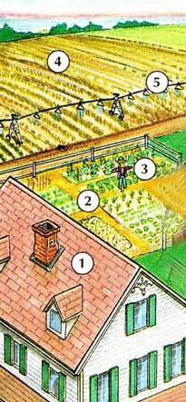 1. Cortijo 2. jardín (vegetal) 3. Espantapájaros 4. cultivo 5. sistema de irrigación