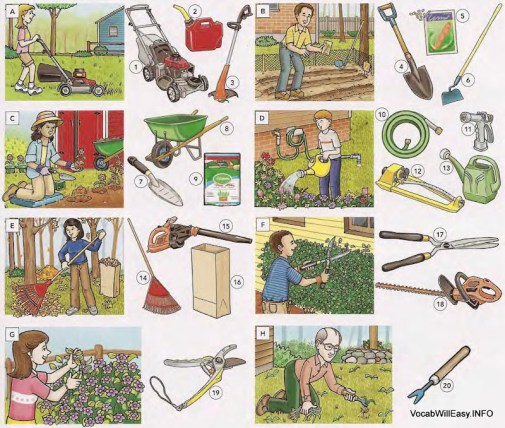 Tuingereedschap en -artikelen - Things - Picture Dictionary
