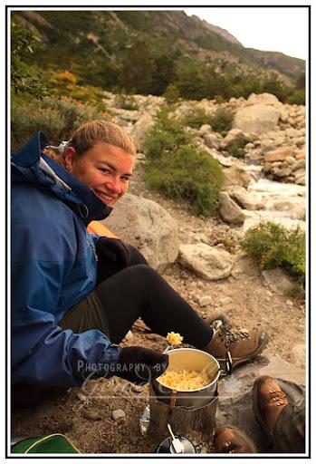 Laura eating pasta near Cuernos