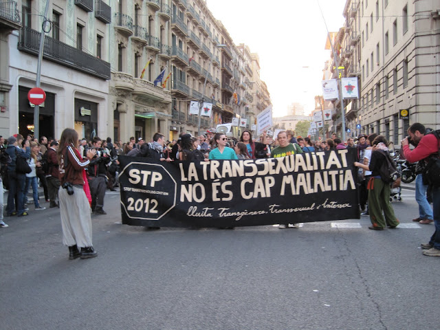 Com cada octubre, des de fa tres anys, el col·lectiu transsexual, intersexual i transgènere ha sortit al carrer per defensar que les identitats trans no són una malatia. Una manifestació que per primer any forma part d'una campanya internacional.